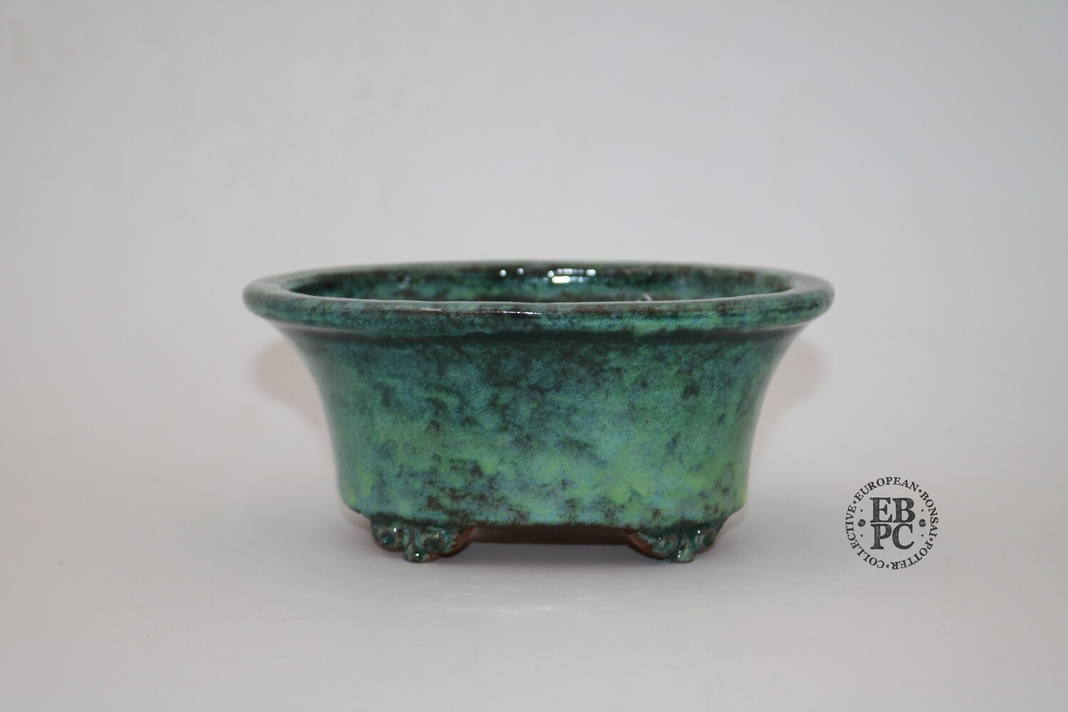 SHUHU of Tokoname -  EBPC stamped; 15.5cm; Deep Shohin Oval; Stunning Glaze; Greens & Blues; 'Honorary European'; Limited Edn; Signed and EBPC Stamped.