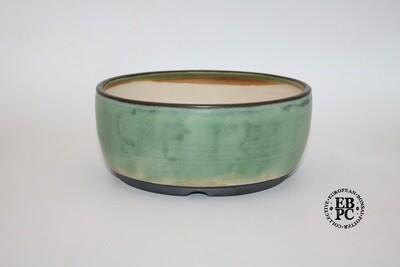 Sabine Besnard - 18.3cm; White Clay; Round; Light Green; Semi-Translucent Glaze; Browns
