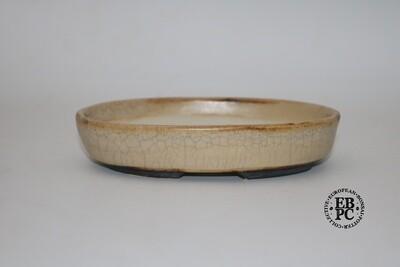 Sabine Besnard - 16.8cm; Oval; Glazed; Antique Cream Crackle; Browns; Shohin