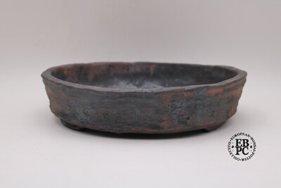 SOLD - Bryan Albright - 29.5cm; Round; Nanban; Unglazed; Oxide Wash; Browns, Reds; Greys
