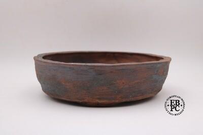 SOLD - Bryan Albright - 31.6cm; Round; Deeper Nanban; Unglazed; Oxide Wash; Browns, Reds; Greys