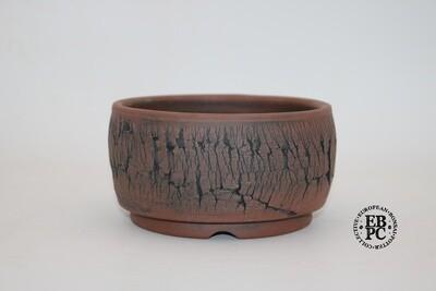 Paul Rogers Ceramics - 14cm; Unglazed; Round; Repeat Crackle Finish; Browns; EBPC Stamped;