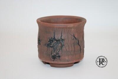 Paul Rogers Ceramics - 11cm; Unglazed; Round Cascade; Random Deep Crackle; Browns; EBPC Stamped