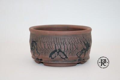 Paul Rogers Ceramics - 14cm; Unglazed; Round; Random Deep Crackle Finish; Browns; EBPC Stamped;