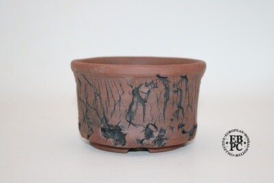 RESERVED - Paul Rogers Ceramics - 12cm; Unglazed; Round; Deep Crackle; Browns; EBPC Stamped;