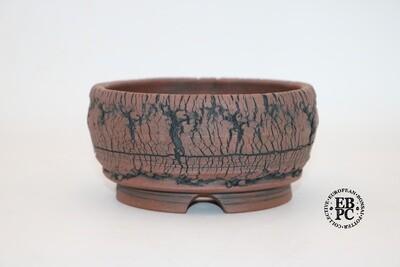 Paul Rogers Ceramics - 13cm; Unglazed; Round; Deep Crackle Finish; Browns; EBPC Stamped;