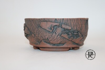 SOLD - Paul Rogers Ceramics - 13.5cm; Unglazed; Round; Repeat 3D Crackle Finish; Browns; EBPC Stamped;