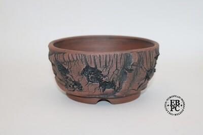 SOLD - Paul Rogers Ceramics - 14.7cm; Unglazed; Round; Deep Crackle Finish; Browns; EBPC Stamped;