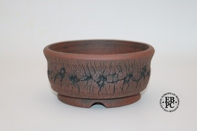 Paul Rogers Ceramics - 14.7cm; Unglazed; Round; Repeat Crackle Pattern Finish; Browns; EBPC Stamped;
