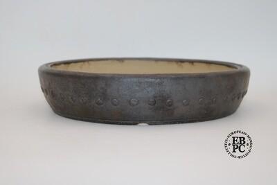 Ian Baillie - 27.8cm; Round; Drum Style;  Studs; Oxide Glaze; Unglazed;  Brown; Stunning Finish