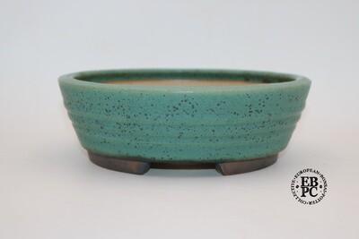 Ian Baillie - 22.9cm; Glazed; Round; Rippled Banding; Superb Thrush Egg Glaze; EBPC Stamped.