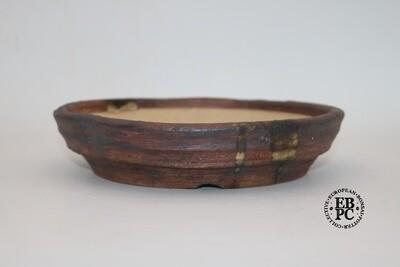 SOLD - Ian Baillie - 20.9cm; Nanban; Round; Textured; Oxide Wash; Splash of glaze; Browns; Greys; Red tones;