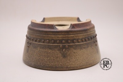 SOLD - Ian Baillie - 17.5cm; Glazed; Round; Rivets Pattern; Banding; Superb Glaze; Brown; Cream; EBPC Stamped