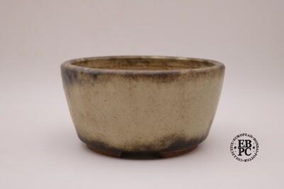Ian Baillie - 20.5cm; Glazed; Round; Superb Glaze; Brown; Cream; EBPC Stamped