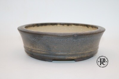 Ian Baillie - 20cm; Glazed; Round; Cream; Brown; Aged-looking glaze; EBPC Stamped
