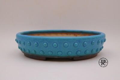 Ian Baillie - 30cm; Glazed; Round; Vibrant Turquoise blue; Drum-style Design; Recessed feet