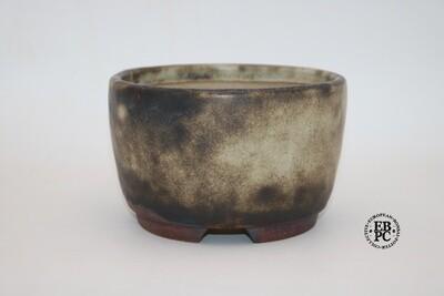 SOLD - Ian Baillie - 15.6cm; Stunning 'Antique Cream' Glazed; Round; Browns; EBPC Stamped