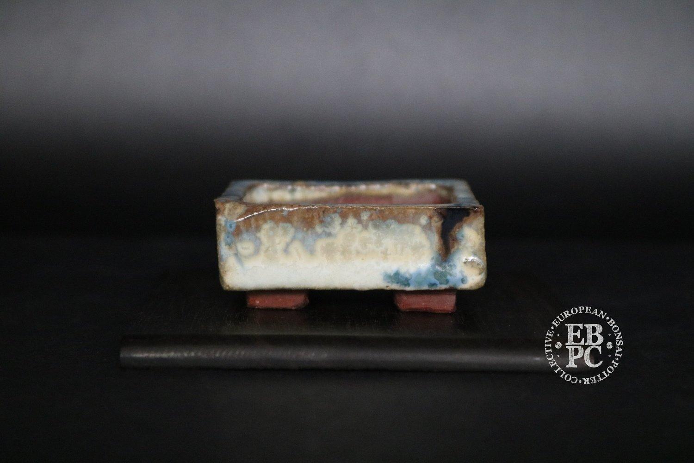 SOLD - Holvila - 'Ice Crystals'; MAME; 5.1cm; Glazed; Rectangle; White; Blue; Brown; Thor Holvila