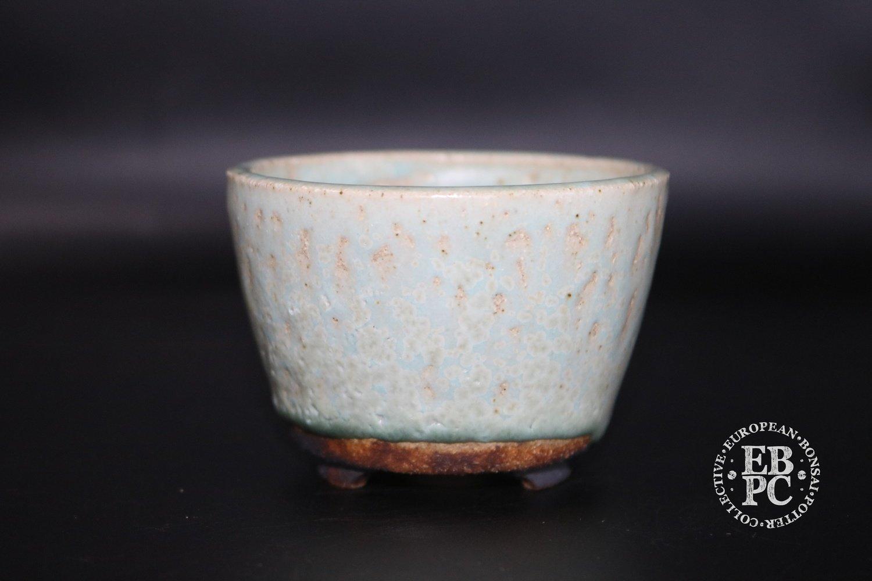 Ian Baillie - 7.9cm; Glazed; Round; Mame; Semi-cascade; White; Turquoise hues;