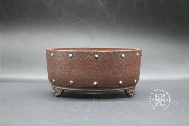 SOLD - Stone Monkey Ceramics - 15.8cm; Unglazed; Round; Semi cascade; Real silver studs; Andrew Pearson