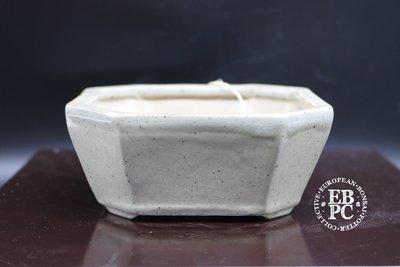 Amdouni Bonsai Pots - 12.7cm; EBPC stamped; celadon; shohin; glazed; square; cut corners