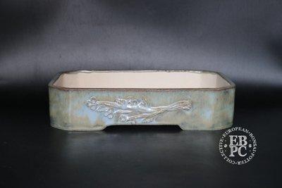 M.B. Bonsaischalen - 27.4cm; Carved branch motif; Stunning glaze; Rectangle; Blue; ;Green, Whites; Marc Berenbrinker