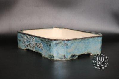 M.B. Bonsaischalen - 27.7cm; Carved branch motif; Stunning glaze; Rectangle; Blue; Namako; Marc Berenbrinker