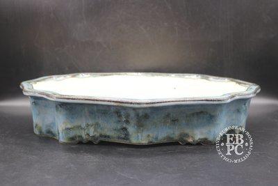 M.B. Bonsaischalen - 41cm; Quince/Lotus/Ken mokko shape; Stunning Namako glaze; Blue; Marc Berenbrinker