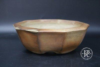 SOLD - Sansai Bonsai Pots - 17.5cm, unglazed, 10 sided, 'round', semi cascade, Tom Benda