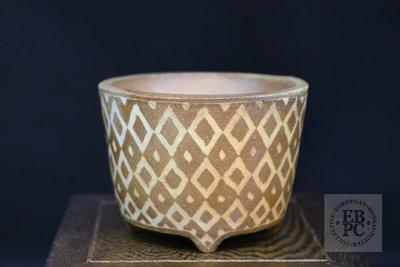 Sansai Bonsai Pots - 8.7cm; carved; unglazed; shohin; round; brown, pattern; Tom Benda