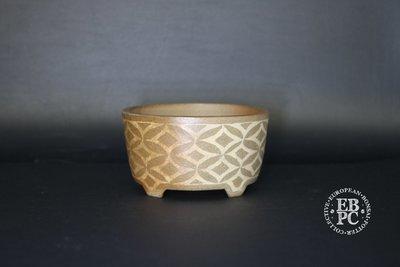 Sansai Bonsai Pots - 9cm; Carved & Inlayed; Unglazed; Mame /  Shohin; Round; Brown, Tattoo design; Tom Benda