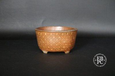 Sansai Bonsai Pots - 9cm; Carve & Inlay technique; Unglazed; Mame; Round; Brown, 'Tattoo' design; Tom Benda