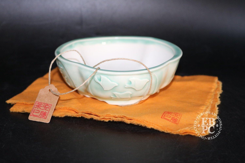 Amdouni Bonsai Pots - 13.2cm; Carved; 4 scenes; Celadon; Glazed; Lotus / Round; Shohin; Sami Amdouni