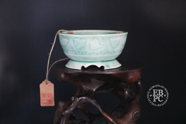 SOLD - Amdouni Bonsai Pots - 9.8cm; Carved; Chidori; Celadon; Glazed; Round; Sami Amdouni