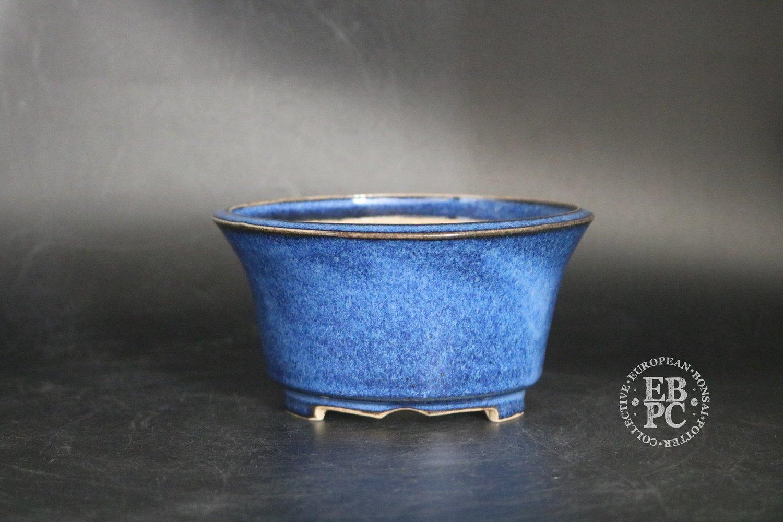 SOLD - Amdouni Bonsai Pots - 14.2cm; Glazed; Round; Namako blue; Whites; Sami Amdouni