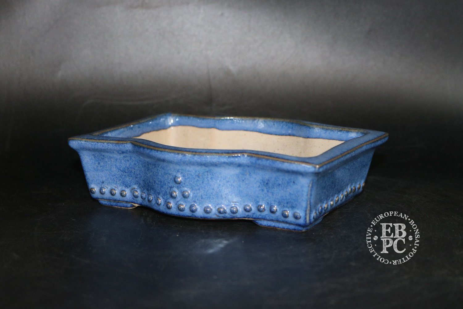 Amdouni Bonsai Pots - 17.2cm; Glazed; 'Bulged' rectangle; Shohin; Namako; Blue; Sami Amdouni