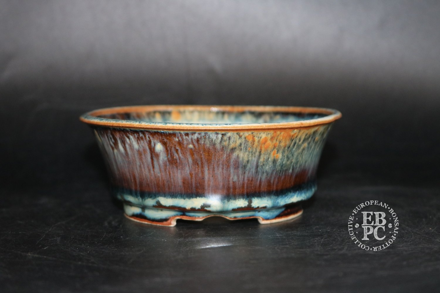 SOLD - Amdouni Bonsai Pots - 13.2cm; Glazed; Round; Semi cascade; Fire Glaze; Orange; Yellow; Reds; Sami Amdouni