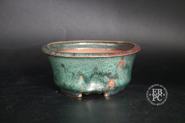 SOLD - Amdouni Bonsai Pots - 13.3cm; 'Pinched' round; Glazed; Semi cascade; Green; Blood red; Drippy glaze; Sami Amdouni