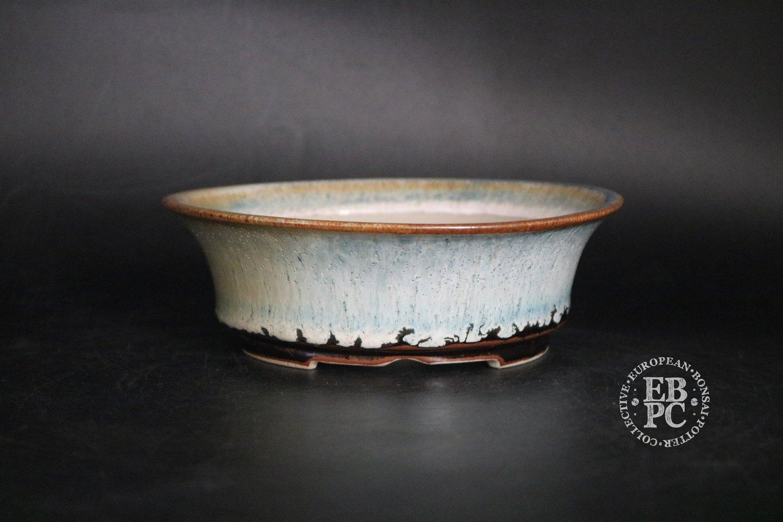 SOLD - Amdouni Bonsai Pots - 16.4cm; Glazed; Round; Semi cascade; Snow and Ice; White, Blue, Brown; Drippy glaze; Sami Amdouni