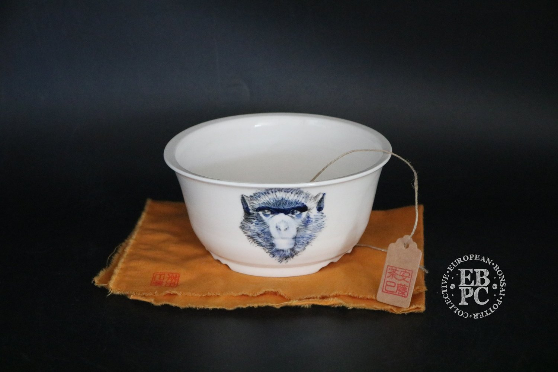 Amdouni Bonsai Pots - 13.8cm; Hand-Painted; Round; Semi cascade;White, Blue, Black; Sami Amdouni