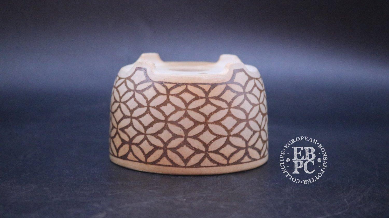 Sansai Bonsai Pots - 9cm; Carved; Unglazed; Round; Unique Brown clay in White clay design; Infill technique; Pattern; Tom Benda