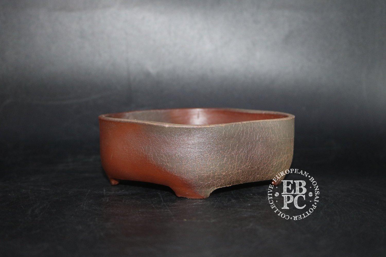 SOLD - Sansai Bonsai Pots - 12.6cm; Unglazed; Mokko; Dual fronts; Brown, Wood fired, Tom Benda
