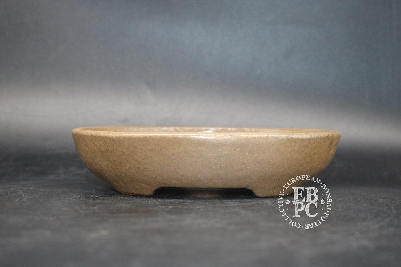 SOLD - Sansai Bonsai Pots - 16.9cm; Glazed; Oval; Shohin; Light Brown; Tom Benda