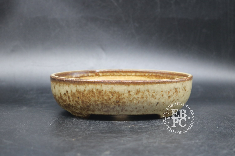 SOLD - Sansai Bonsai Pots - 17.1cm; Glazed; Oval; Shohin; Light & Dark Brown; Tom Benda