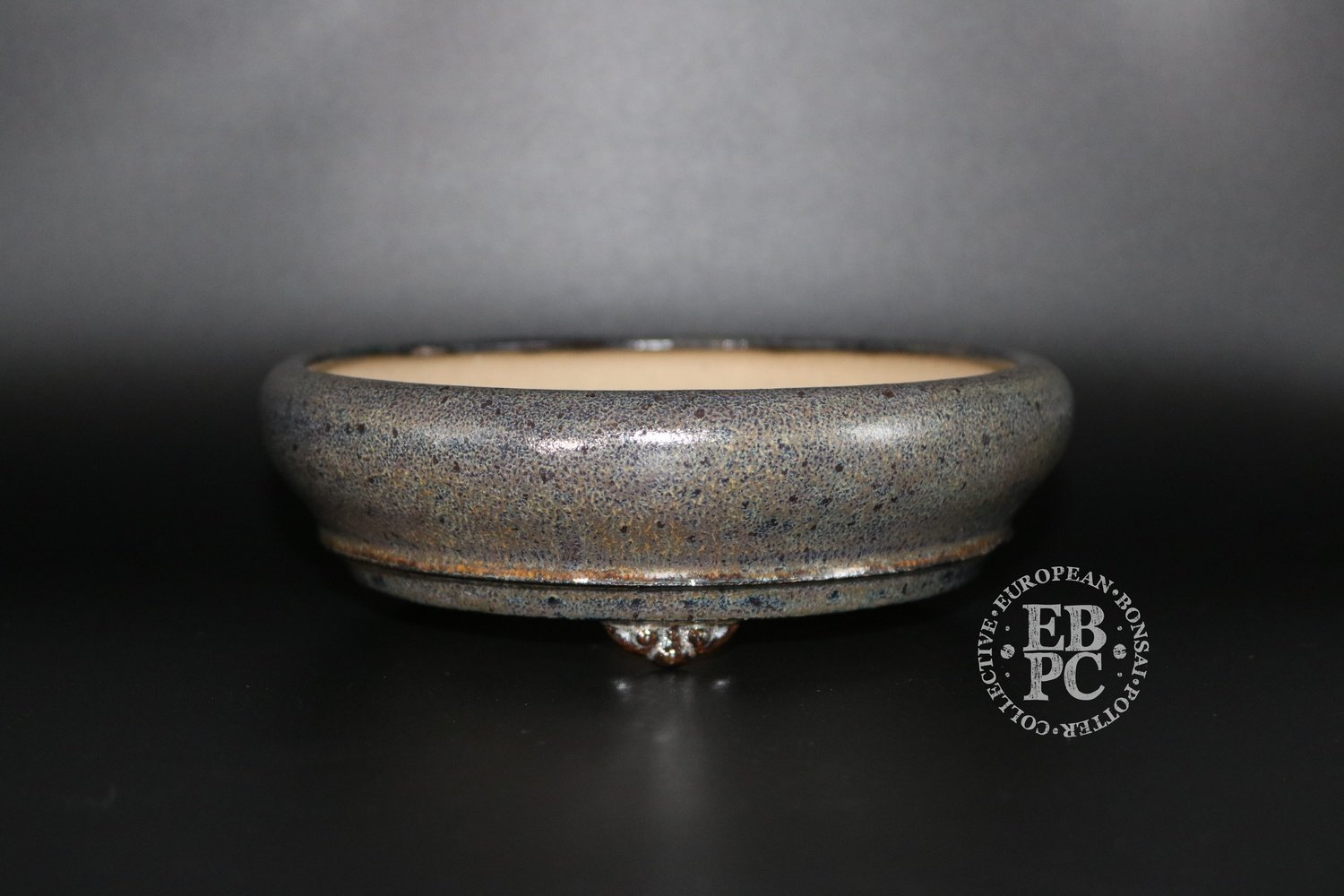 SOLD - Ian Baillie - 17cm; Glazed; Round; Shohin; Namako like glaze; Browns; Greens; Yellow; White; Black; Basal band; Cloud feet