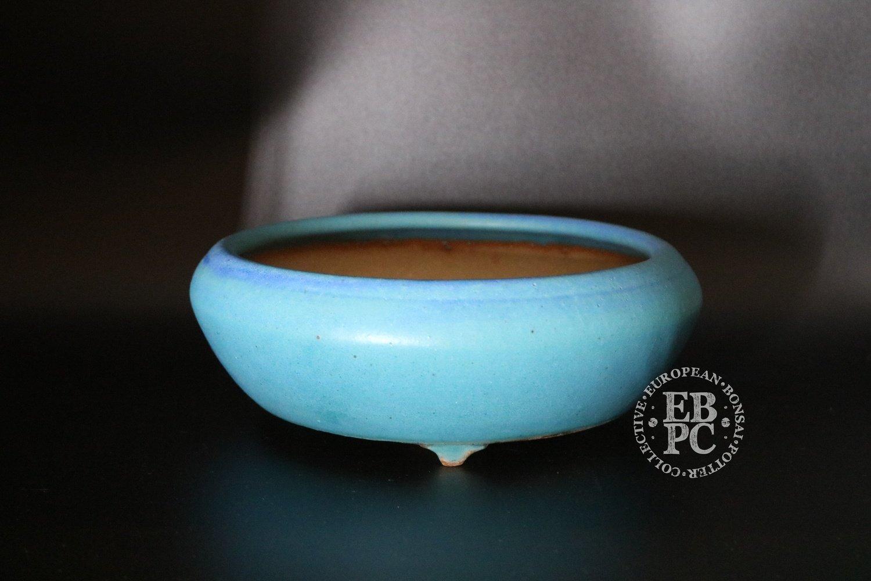 SOLD - Ian Baillie - 21.3cm; Glazed; Round; Vibrant blue; Delicate design; Teardrop feet
