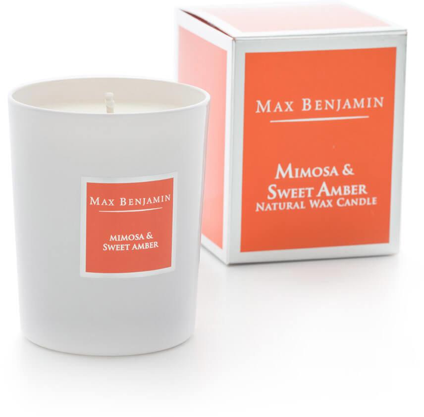 Rankų darbo žvakė MIMOSA & SWEET AMBER 2 vnt