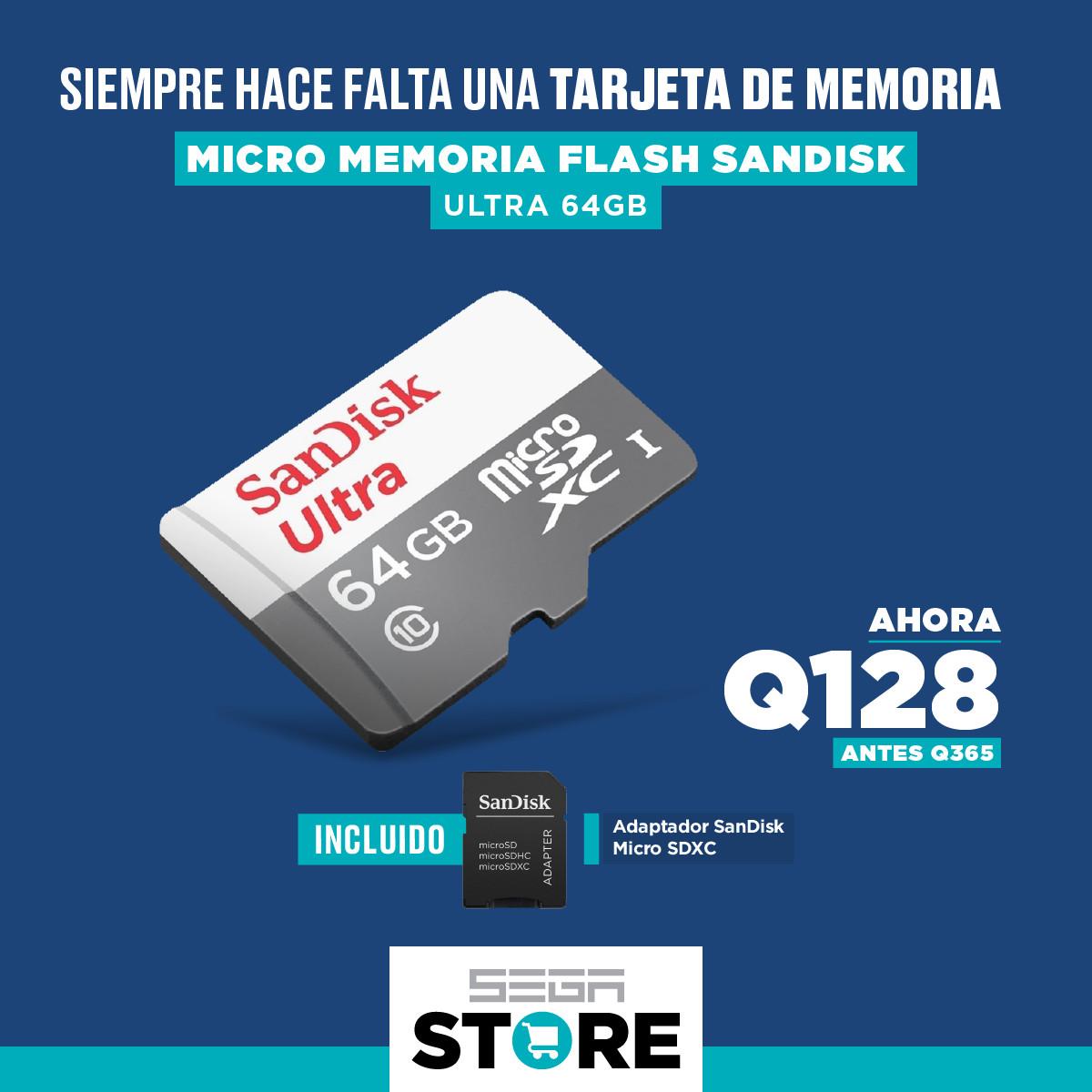 Oferta micro memoria SDXC Flash - SanDisk Ultra 64GB Class 10