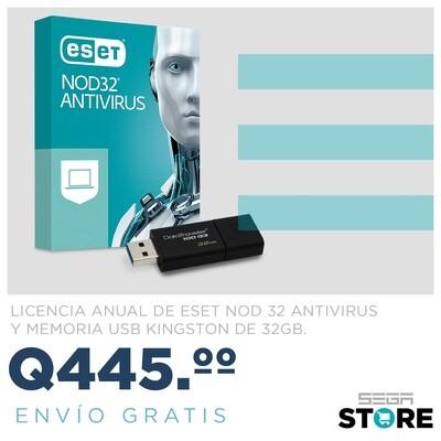 Combo antivirus ESET NOD32 Hogar y PYME 1 PC - 1 licencia anual - memoria Kingston DataTraveler 100 G3 - Unidad de flash USB - 32 GB