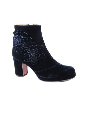 Chie Mihara Velvet Flower detailed ankle boot in Navy